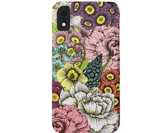 Retro Floral iPhone XS, XR, X, 7/8, 7/8 P, 6/6S, 6 Plus/Max Snap Case or Tough Protective Cover, Vintage Flower/Flowers/Wallpaper Print