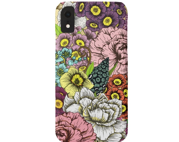 Retro Floral iPhone XS, XR, X, 7/8, 7/8 P, 6/6S, 6 Plus/Max Snap Case or Tough Protective Cover, Vintage Flower/Flowers/Wallpaper Print