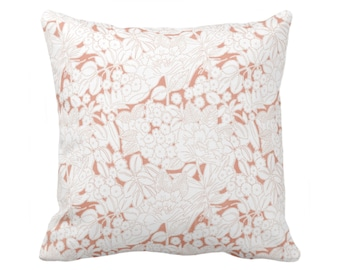 """Wildflowers Throw Pillow or Cover, Terracotta/White 16, 18, 20 or 26"""" Sq Pillows or Covers, Coral/Pink/Orange Floral/Flower Print/Pattern"""