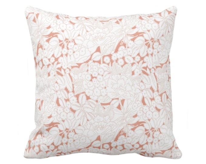"Wildflowers Throw Pillow or Cover, Terracotta/White 16, 18, 20 or 26"" Sq Pillows or Covers, Coral/Pink/Orange Floral/Flower Print/Pattern"