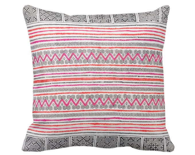 "Thai Batik Print Throw Pillow or Cover, Indigo/Pink/Orange 14, 16, 18, 20 or 26"" Sq Cover or Pillows, Printed Vintage Embroidery"