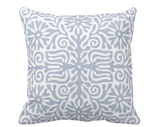 """Folk Floral Throw Pillow or Cover, Chambray 16, 18, 20 or 26"""" Sq Pillows or Covers, Dusty Blue/White Tribal/Batik/Geo/Boho/"""