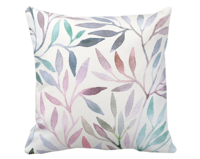 "OUTDOOR Watercolor Stems Throw Pillow/Cover, Multi-Colored Pastels Organic Pattern 14, 16, 18, 20, 26"" Sq Pillows/Covers, Purple/Pink/Blue"