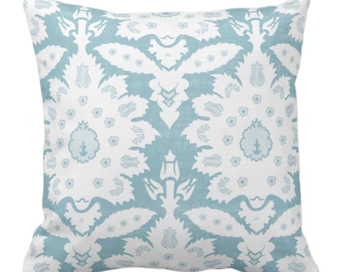 "OUTDOOR Sofia Damask Print Throw Pillow/Cover, Ocean Blue/Green 14, 16, 18, 20, 26"" Sq Pillows/Covers, Floral/Boho/Tribal/Farmhouse Pattern"