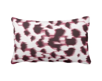 """OUTDOOR Ikat Abstract Animal Print Throw Pillow/Cover 14 x 20"""" Lumbar Pillows/Covers, Plum Wine/White Spots/Spotted/Dots/Geo/Painted Pattern"""