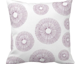 """OUTDOOR Abstract Urchins Throw Pillow/Cover Dusty Plum/White 14, 16, 18, 20, 26"""" Sq Pillows/Covers, Purple Modern/Starburst/Geometric Print"""