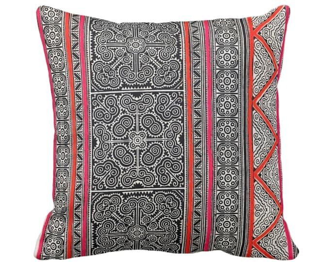 "Thai Batik Printed Throw Pillow or Cover, Indigo, Pink, Orange 16, 18, 20 or 26"" Sq Pillows or Covers, Printed Vintage Textile"