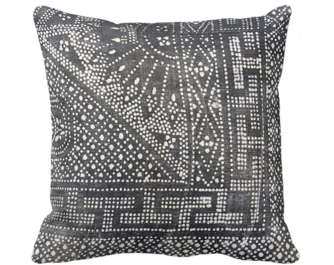 "Batik Printed Throw Pillow or Cover, Gray 16, 18, 20 or 26"" Square Pillows or Covers, Printed Vintage Chinese Grey Textile"