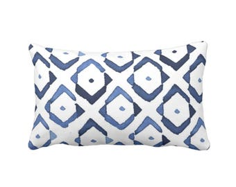 "Diamond Geo Throw Pillow or Cover, Indigo/White 14 x 20"" Lumbar Pillows or Covers, Navy/Blue Diamonds/Ikat/Geometric Print"