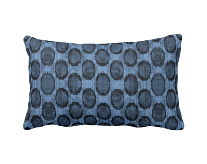 "OUTDOOR Ikat Ovals Print Throw Pillow or Cover 14 x 20"" Lumba Pillows/Covers, Navy/Dark Blue Geometric/Circles/Dots/Dot/Geo/Polka Pattern"