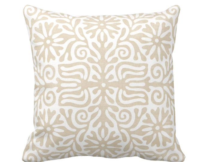 """OUTDOOR Folk Floral Throw Pillow or Cover, Sand 16, 18 or 20"""" Sq Pillows or Covers, Light/Beige/Flax/White Tribal/Batik/Geo/Boho Print"""