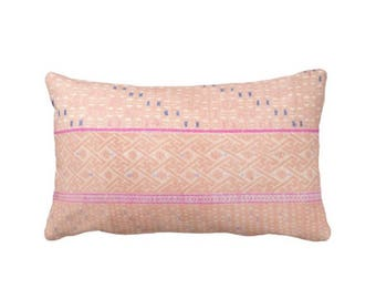 "Chinese Wedding Blanket Printed Throw Pillow or Cover, Peach 14 x 20"" Lumbar Pillows or Covers, Geometric Tribal Print, Pink"