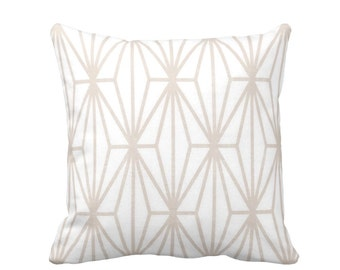 """Modern Geo Throw Pillow or Cover, Sand/White Print 16, 18, 20 or 26"""" Sq Pillows or Cover, Beige Japanese/Geometric/Stripe/Striped"""