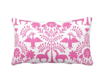"OUTDOOR Otomi Throw Pillow or Cover, Pink/White 14 x 20"" Lumbar Pillows/Covers, Bright Mexican/Boho/Floral/Animals/Nature Print/Pattern"