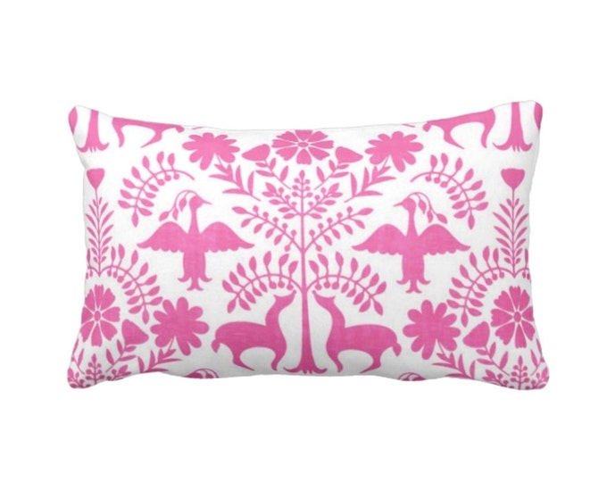 "Otomi Throw Pillow or Cover, Pink/White 14 x 20"" Lumbar Pillows or Covers, Bright Mexican/Boho/Floral/Animals/Nature Print/Pattern"
