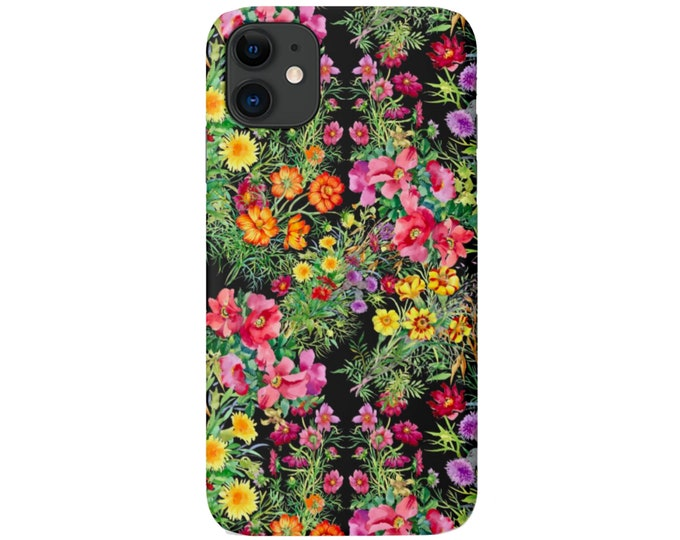 Wildflower iPhone 11, XS, XR, X, 7/8, 6/6S P/Pro/Plus/MAX Snap Case Tough Protective Cover, Black Colorful Floral/Flower Pattern, Galaxy lg