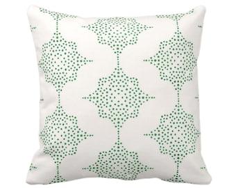 "Block Print Stars Throw Pillow or Cover, Emerald & Ivory 14, 16, 18, 20, 26"" Sq Pillows/Covers, Green Blockprint/Boho/Geometric/Star Pattern"