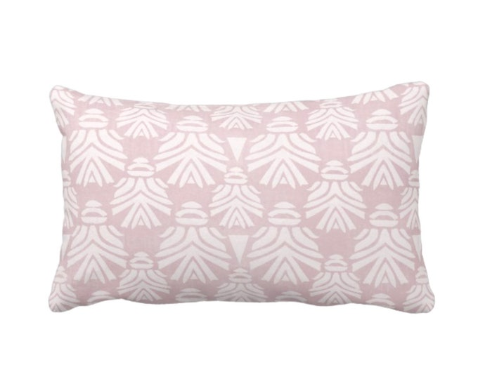 """OUTDOOR Block Print African Mask Throw Pillow or Cover, Dusty Lilac 14 x 20"""" Lumbar Pillows or Covers Pink/Purple Blockprint/Tribal/Boho"""
