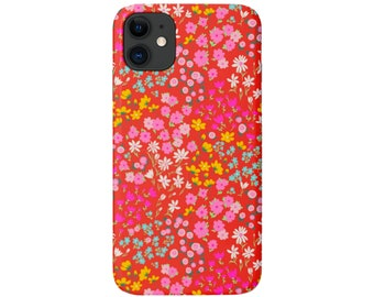 Red Floral iPhone 11, XS, XR, X, 7/8, 6/6S Pro/Max/P/Plus Snap Case or Tough Protective Cover Vintage/Retro Colorful/Small Flowers Galaxy lg