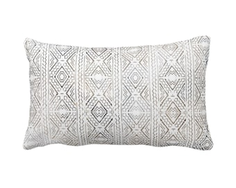 "OUTDOOR Tribal Diamonds Print Throw Pillow or Cover 14 x 20"" Lumbar Pillows/Covers, Taupe/Charcoal/Brown/White Geo/Geometric/Diamond/Lines"