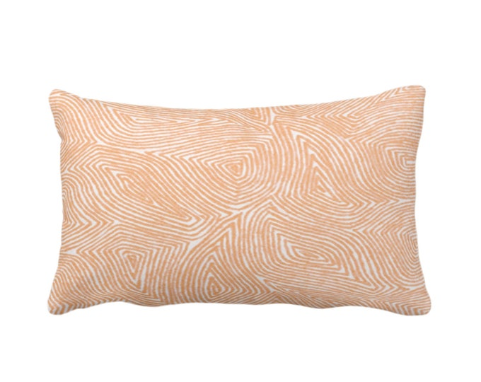 "OUTDOOR Sulcata Geo Throw Pillow or Cover, Terracotta & White 14 x 20"" Lumbar Pillows/Covers, Abstract Geometric/Lines/Waves Print/Pattern"