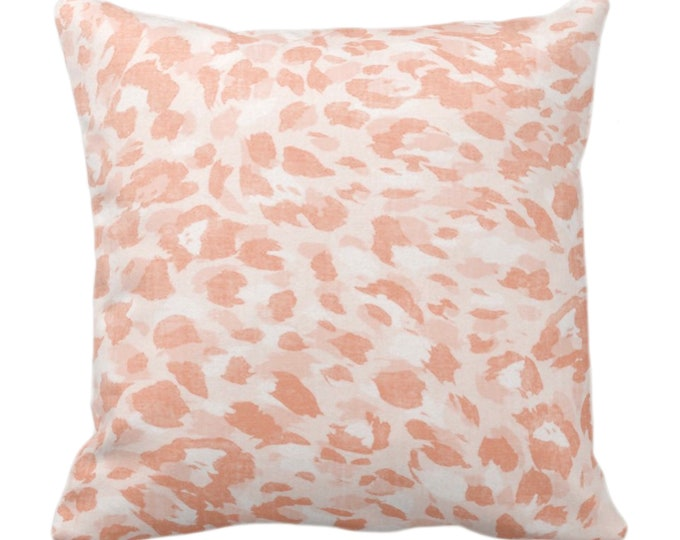 "Spots Print Throw Pillow or Cover, Pale Coral 14, 16, 18, 20, 26"" Sq Pillows/Covers Light Orange Abstract Animal/Leopard/Spot/Pattern/Design"
