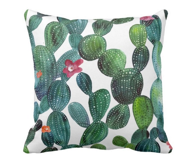 "Cactus Print Throw Pillow or Cover, Emerald/Teal Green 16, 18, 20 or 26"" Sq Pillows or Covers, Colorful/Bright Watercolor Print"