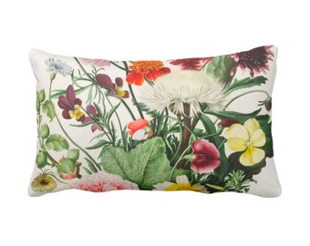 """Vintage Botanical Throw Pillow or Cover 14 x 20"""" Sq Pillows/Covers, Colorful Yellow/Orange/Purple/Green Flowers/Floral/Nature Print/Pattern"""