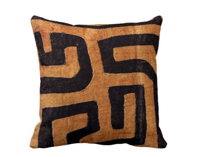 "READY TO SHIP Kuba Cloth Printed Throw Pillow Cover, Tan/Black 20"" Sq Pillow Covers, Geometric/African/Tribal/Boho/Design"