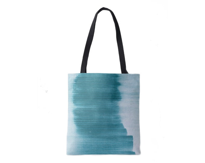 Ombre Stripe Market Tote, Teal Striped Print Bag, Bright/Light Blue/Green/Aqua/Turquoise Boho/Abstract/Modern Pattern/Design, Grape/Plum