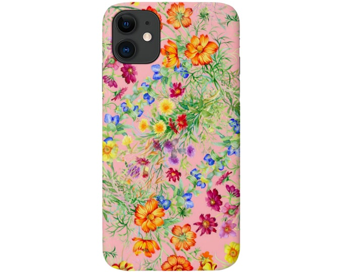 Pink Wildflowers iPhone 11, XS, XR, X, 7/8, 6/6S P/Pro/Plus/MAX Snap Case or Tough Protective Cover Colorful Floral/Flower Pattern Galaxy lg