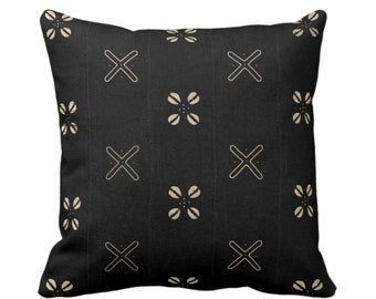 """OUTDOOR Mud Cloth Print Throw Pillow or Cover, Cowrie Shell Black/Off-White 16, 18 or 20"""" Sq Pillows/Covers, Mudcloth/Boho/X/Tribal/Design"""