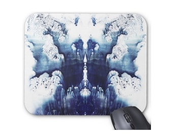 Rorschach Abstract Mouse Pad/Mousepad, Modern Paint Splash Print, Ink/Navy Blue & White