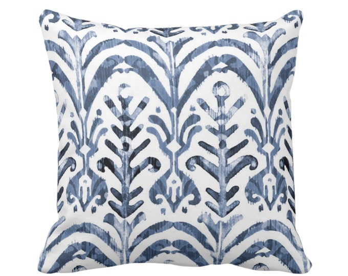 "OUTDOOR - READY 2 SHIP Watercolor Print Throw Pillow/Cover, Navy Blue/White 18"" Sq Pillows/Covers, Hand-Dyed Effect Dusty Blue Ikat Design"