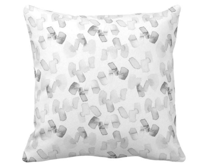 "OUTDOOR Watercolor Confetti Abstract Print Throw Pillow or Cover, Gray/White 16, 18 or 20"" Sq Pillows or Covers, Grey Minimal/Modern/Dashes"