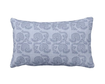 "OUTDOOR Block Print Floral Throw Pillow or Cover, Dusty Blue 14 x 20"" Lumbar Pillows or Covers, Indigo Flower/Batik/Indian/Boho Pattern"