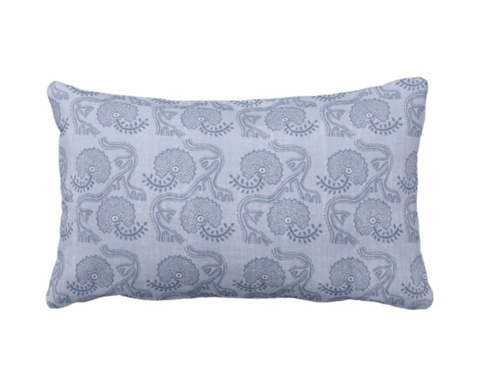 "OUTDOOR Block Print Floral Throw Pillow or Cover, Dusty Blue 14 x 20"" Lumbar Pillows or Covers, Indigo Flower/Batik/Indian/Boho Pattern"
