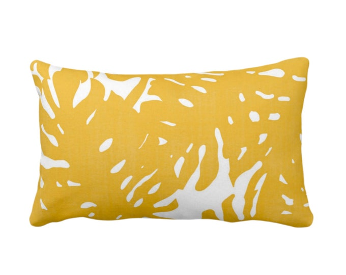 "OUTDOOR Palm Silhouette Throw Pillow or Cover Golden/White Print 14 x 20"" Lumbar Pillows/Covers Bright Yellow Tropical/Modern/Leaves Pattern"