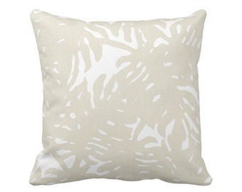 "Palm Silhouette Throw Pillow or Cover Sand/White 16, 18, 20, 26"" Sq Pillows or Covers Beige Tropical/Leaves/Palms Print/Pattern"