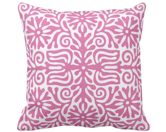 "Folk Floral Throw Pillow or Cover, Pink/White 16, 18, 20, 26"" Sq Pillows or Covers, Bright Purple/Pink Flowers/Tribal/Boho Print"