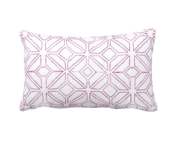 "OUTDOOR Tribal Trellis Throw Pillow or Cover, Purple & White 14 x 20"" Lumbar Pillows or Covers, Geo/Geometric/Diamond/Triangle Print/Pattern"