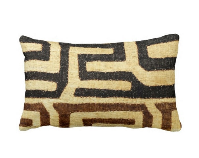 "PRINTED Kuba Cloth Throw Pillow/Cover, Beige/Brown/Black 14 x 20"" Lumbar Pillows/Covers, African Tribal/Traditional/Boho"