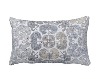 "OUTDOOR Batik Scroll Printed Throw Pillow or Cover, Blue/Gray/Multi 14 x 20"" Lumbar Pillows/Covers, Vintage Chinese Grey/Beige/Sand Textile"