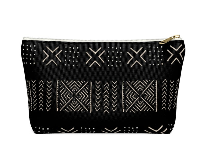 Mud Cloth Diamonds Zippered Pouch, Black & Off-White Tribal Design, Cosmetics/Pencil/Make-Up Organizer/Bag, Boho/African Geometric Pattern
