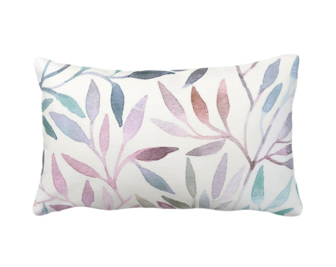 "Watercolor Stems Throw Pillow/Cover, Multi-Colored Pastels Organic Pattern 14x20"" Lumbar Pillows/Covers, Purple/Pink/Blue/Aqua/Rust/Green"