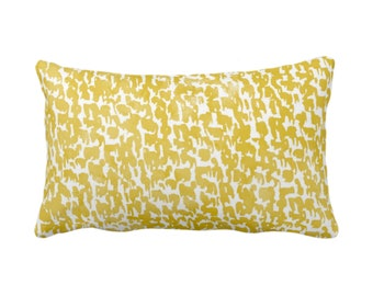 "Horseradish Speckled Print Throw Pillow or Cover 14 x 20"" Lumbar Pillows/Covers, Mustard Yellow Abstract/Marbled/Spots/Dots/Painted/Dashes"