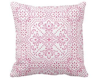 "OUTDOOR Tile Print Throw Pillow or Cover, Pink 16, 18 or 20"" Sq Pillows or Covers, Bright Fuchsia/White Geometric/Batik/Trellis/Boho"