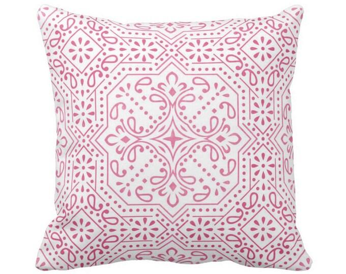 "OUTDOOR Tile Print Throw Pillow or Cover, Pink 16, 18 or 20"" Sq Pillows or Covers, Bright Fuchsia/White Geometric/Batik/Trellis/Boho"