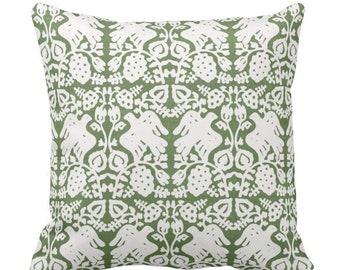"OUTDOOR Block Print Bird Floral Throw Pillow/Cover, Kale 14, 16, 18, 20, 26"" Sq Pillows/Covers Moss/Olive Green Blockprint/Boho Nature Print"