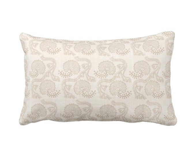 "Block Print Floral Throw Pillow or Cover, Cream 14 x 20"" Lumbar Pillows or Covers, Off-White/Beige Flower/Batik/Boho/Blockprint Pattern"